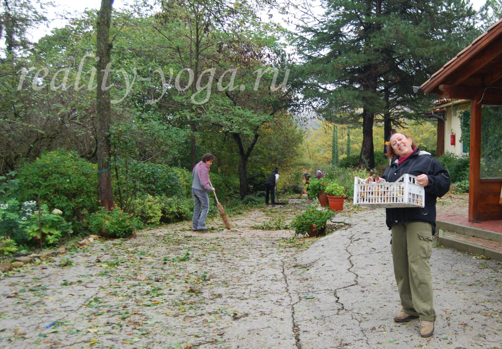 Аананда, Крияананда, убираем листья