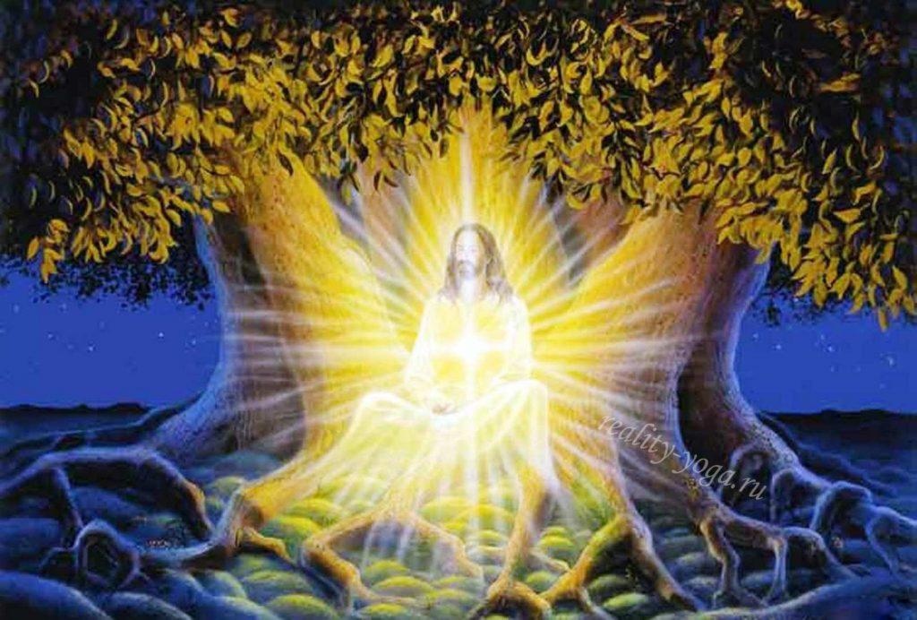 Христос под деревом Бодхи медитирует